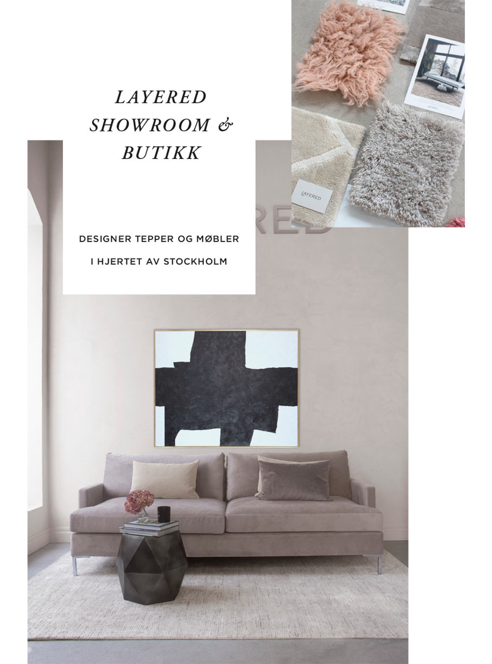 Devon Soffa, stor beige matta, Layered showroom